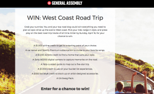 General Assembly – West Coast Road Trip – Win a prize valued at $5,000 incl airline & Airbnb credits, car rental, a camera and more