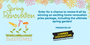 Hallmark Channel – Spring Renovation – Win a grand prize of $15,000 to renovate home or backyard OR a $5,000 Lumber Liquidators gift card for runner-up