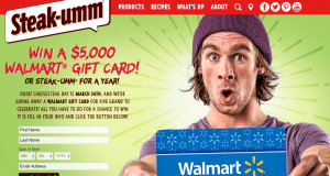 Steak-Umm – For One Year – Win a $5,000 Gift Card for Walmart OR 1 of 10 Steak-Umm coupons valued at $260 each