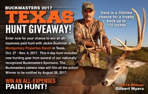 Buckmasters – 2017 Texas Hunt – Win an all-expenses paid hunt with Jackie Bushman in Texas