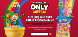 General Mills – Lucky Charms Marshmallow Only – Win 1 of 10,000 boxes of Original Lucky Charms marshmallows only pack