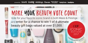 Meredith – Vote For Beauty – Win 1 of 4 prize packages of an Ultimate Beauty Bag filled with beauty products valued at $1,131 each