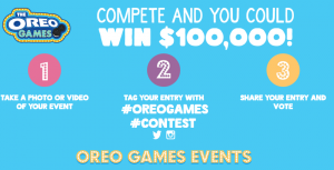 Mondelez Global – Walmart Oreo Games – Win a grand prize of a $100,000 check OR other minor prizes