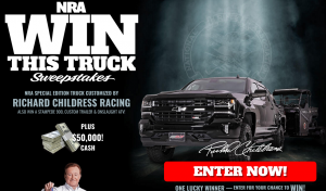 NRA – Win a prize package valued at $161,200 incl. a new 2017 Chevy Silverado 1500 LTZ Z71 customized by Richard Childress Racing, $50,000 cash plus more