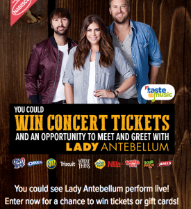 Albertsons – Mondelez Lady Antebellum Concert – Win 1 of 33 grand prizes OR 1 of 260 Runner-Up prizes