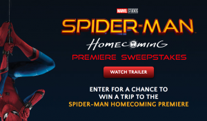 Columbia Tristar Marketing Group – Spider-Man: Homecoming Premiere – Win a trip for 2 to Los Angeles to attend the premiere valued at $3,500
