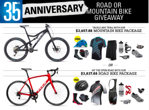 Performance Bicycle – 35th Anniversary Road or Mountain Bike – Win either a Road or Mountain Bike prize package valued at up to $3,837