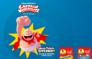 Sun-Maid – Captain Underpants – Win 1 of 5,000 Instant Win prizes of 2 movie tickets each