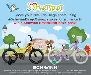 Toys R US – Schwinn Smartstart Bingo – #SchwinnBingoSweepstakes – Win 1 of 7 Family Fun Ride prize packs valued at $594 each