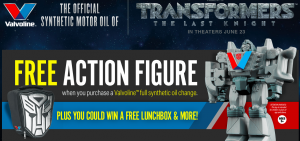 Valvoline – Transformers: The Last Knight – Win 1 of 6,510 Instant Win Prizes