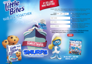Bimbo Bakeries – Entenmann's Little Bites Smurfs The Lost Village – Win a 10-day Caribbean cruise for 4 to Ft. Lauderdale valued at $6,300