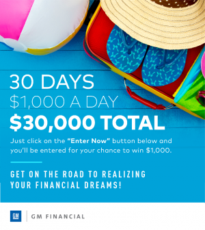 AmeriCredit Financial Services – The GM Financial Summer – Win 1 of 30 grand prizes of a $1,000 check each