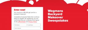 Coca-Cola and Wegmans – Backyard Makeover – Win a $5,000 gift card for a backyard makeover
