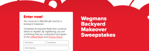 Coca-Cola and Wegmans – Backyard Makeover – Win a $5,000 gift card for a backyard makeover