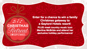 Hallmark Channel – Christmas Retreat – Win a trip for 4 to the Gaylord Opryland Resort in Nashville, TN valued at $3,900
