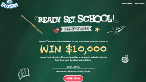 Irving Consumer Products – Scotties Ready Set School – Win a grand prize of $10,000 cash OR many minor prizes