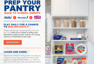 Reynolds Consumer Products – Prep Your Pantry Back to School – Win 1 of 5 eBoxTops valued at $1,000 each OR 1 of 2,000 Instant Win Prizes