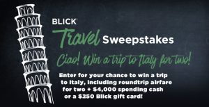 Blick Art Materials – 2017 Blick Travel – Win a trip for 2 to Italy valued at $6,000 OR 1 of 10 minor prizes of a $250 Blick Gift Card