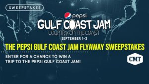 CMT – Pepsi Gulf Coast Jam Fly Away – Win a flyaway trip for 2 to attend the Pepsi Gulf Coast Jam in Panama City Beach valued at $4,998