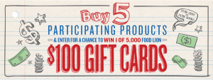 Food Lion – Back to School – Win 1 of 5,000 Food Lion Gift Cards valued at $100 each
