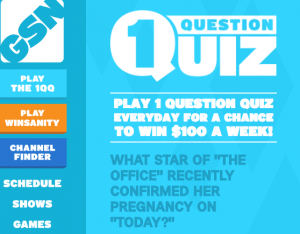 """Game Show Network – GSN """"1 Question Quiz"""" – Win a $500 check or gift card weekly"""