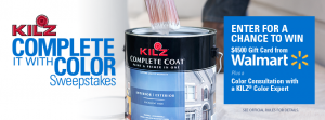 Masterchem Industries – Kilz Complete it with Color – Win a $4,500 Walmart Gift Card OR 1 of 5 minor prizes