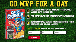 Quaker Oats – Gameday With Cap'N – Win an ESPN College Game Day Experience for 2 OR hundreds of Instant-Win Prizes