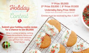 American Butter Institute – Go Bold with Butter 2017 Holiday Cookie – Win $5,000 OR other 3 prizes