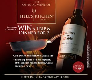 Casillero del Diablo – Win a trip and dinner for 2 in Las Vegas valued at $1,800