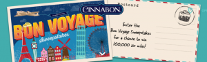 Cinnabon – Bon Voyage – Win 100,000 Delta frequent flyer miles PLUS Free Cinnabon for a year valued at $3,535