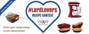 Coast Packing Co – Lardlovers Recipe – Win KitchenAid Professional Stand Mixer, Le Creuset Stoneware OR Gotham Steel Titanium Ceramic Frying & Cooking Pan
