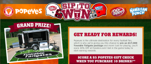 Dr Pepper/Seven Up – Sip to Win – Win a grand prize of a junior towable trailer valued at $17,000 OR many other prizes