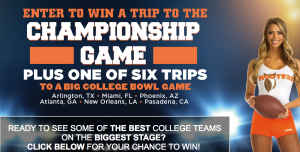 Hooters – College Football – Win 1 of 7 trips for 2 to Dallas, Miami, Phoenix, Atlanta, New Orleans and Los Angeles