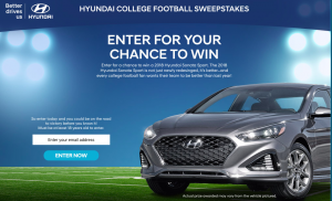 Hyundai – College Football – Win a 2018 Hyundai Sonata Sport 2.4L 6-Speed Automatic valued at $27,600
