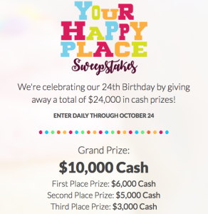 Jewelry Television – Your Happy Place – Win a grand prize of $10,000 cash; 1 of 3 minor cash prizes OR Weekly prizes