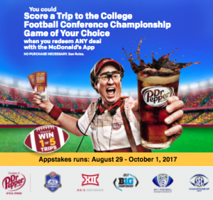 McDonald's – Crave Your Game Appstakes – Win 1 of 5 Conference Championship Game 2017 trips for 2 valued at up to $2,975