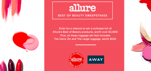 Allure – Best of Beauty 2017 – Win beauty products from Allure & a set of AWAY luggage valued at $3,520