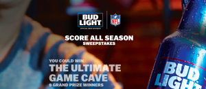 Anheuser-Busch – Bud Light NFL Score All Season – Win 1 of 9 grand prizes OR thousands of other prizes