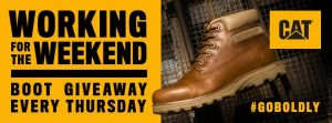 Cat Footwear – Working for the Weekend – Win 1 of 12 new pairs of CAT Footwear Work boots valued at $120 each