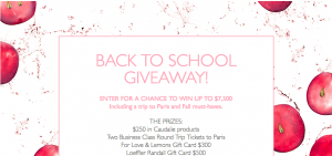 Caudalie – Back to School: Adult Edition – Win a Caudalie Back to School Ultimate Giveaway including a trip to Paris valued at $7,500