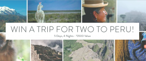 Causebox – Win a Trip for 2 to Peru valued at $3,500