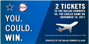 Dallas Cowboys – Alon Brands – Win a trip for 2 to Dallas, Texas valued at $2,000