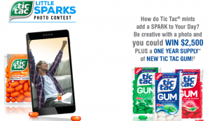 Ferrero USA – Tic Tac Little Sparks – Win a grand prize valued at $2,550 OR 1 of 3 minor prizes