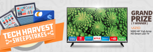 Newegg Business – Tech Harvest – Win a grand prize of HD Smart LED TV valued at $319 OR 1 of 7 minor prizes