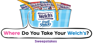Promotion in Motion – Welch's Fruit Snacks Where Do You Take Your Welch's – Win a grand prize pack valued at $678 OR 1 of 100 minor prizes