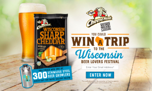 Saputo Cheese – Frigo Cheese Heads Cheesetoberfest – Win a grand prize of a trip for 4 to Wisconsin Beer Lovers Festival 2018 in Glendale OR 1 of 300 minor prizes