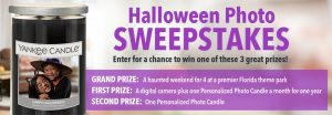 Yankee Candle – Halloween Photo – Win a grand prize of a weekend at a premier Florida theme park OR 1 of 560 minor prizes