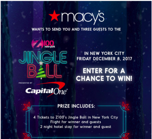 iHeartMedia + Entertainment – Macy's Jingle Ball Fly Away – Win a prize package valued at $4,500 including a trip for 4 to New York