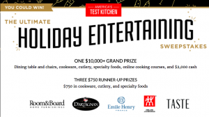 America's Test Kitchen – Ultimate Holiday Entertaining – Win a grand prize valued at $11,080 OR 1 of 3 minor prizes