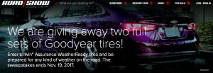CNET – Roadshow's WeatherReady Tires – Win 1 of 2 prizes of a set of 4 Goodyear Assurance WeatherReady Tires with free tire installation valued at $1,000 each